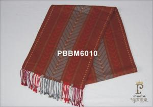 China Red And Grey Striped Woven Silk Scarf For Neck In Autumn on sale