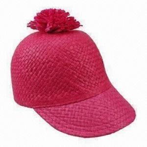 Straw Baseball Cap with DTM Pom Pom on Top for sale – Women s straw ... 0b36a78061b