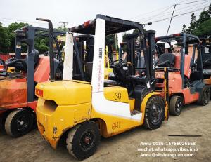 China tcm used diesel forklift manual 3 ton isuzu engine with 3000mm mast on sale