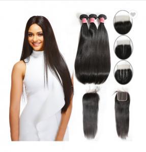 China SGS Straight Human Hair Weave / Peruvian Hair Bundles With Closure on sale