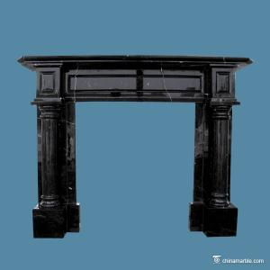 China Black Marble Fireplace Hearth , Indoor Marble Fire Surround High Hardness on sale