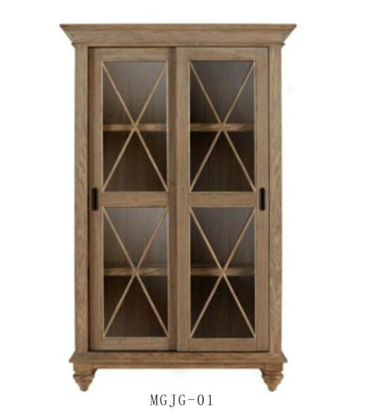 French Wood Antique Style Vintage Wooden Classic Oak Bookcases With