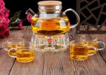 Lightwave Oven Heat Glass Candle Lit Teapot , Coffee Warmer Base Clear Teapot Set