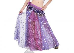 China Decorative Sequin Plus Size Chiffon Belly Dance Skirt , Belly Dancing Dress on sale