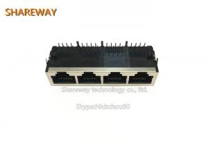 China Plastic Housing 2*6 RJ45 Multi Port Jack JOB-3448NL Metal Shield Colorful LED on sale