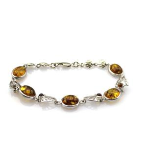 China Gemstone Jewelry 925 Silver 8x10mm Oval Citrine Link Tennis  Bracelet (SB7001) on sale