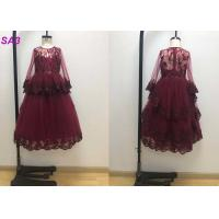 China Blossom Inspired Wine Red Childrens Flower Girl Dresses With Long SleeveS Beaded on sale