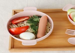 China 102 Gram Pink Wheat Straw Dinnerware Baby Feeding Bowls With Handle 0.033 CBM on sale