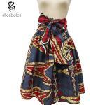 La falda maxi modificada para requisitos particulares de la impresión africana del tamaño con el lado de la correa embolsa multicolor