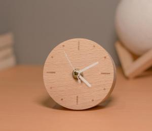 China Classic Real Wooden Alarm Clock Mini Quartz Analog Type with Customized Service on sale