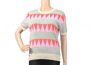 China Jacquard Top Womens Knit Sweater Crew Neck Jumper In Short Sleeve For Summer Season on sale
