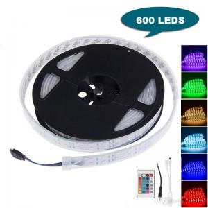 China 16FT 5M Double Row SMD 5050 Silicone Tube RGB LED Strip Light 600 LEDs Flexible Waterproof Color Changing Light Strip wi on sale
