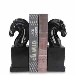 China Moulded Resin Black And White Bookends With Horse Head On Square Base on sale