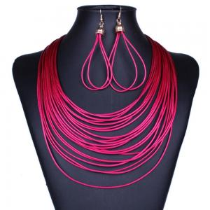 China Fashion African Jewelry Set Vintage Multilayer Rope Tassles Necklace Earrings Statement on sale