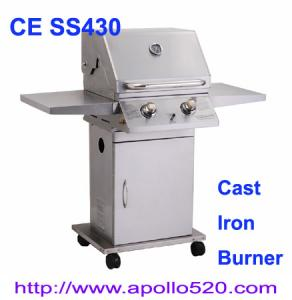 China Deluxe 2 Burner Gas BBQ with cast iron 2 burner on sale