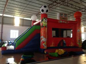 China New inflatable football bouncer house inflatable baseball jump house soccer bouncer with slide on sale