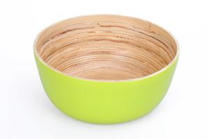 China Handmade Green Color 12CM Height Tableware Bamboo Salad Bowl for Kitchen on sale