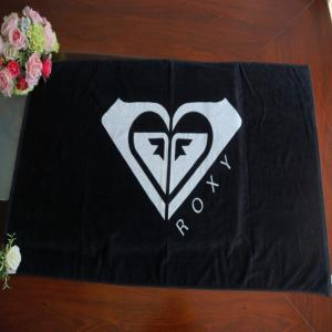 China Dark Black Customized Jacquard Reactive Printing Cotton Towel on sale