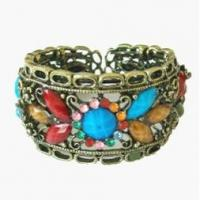 Colorful Diamonds, Antique Bronze Bangles Jewelry Metal Iron Wire Imitation Jewelry