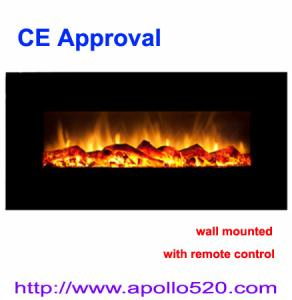 China Home Décor Modern Wide Glass Electric Fireplace with Heater on sale