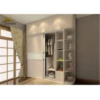 Fashionable White Solid Wood Wardrobe Indoor With 9 Shelves 2 Drawers