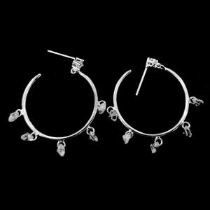 China Rose Gold Silver Cubic Zirconia Earrings / Sterling Silver Hoop Earrings With Crystal on sale