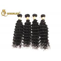100g Each Bundle Soft And Smooth Raw Indian Deep Wave Human Hair Weave , Indian Remy Hair