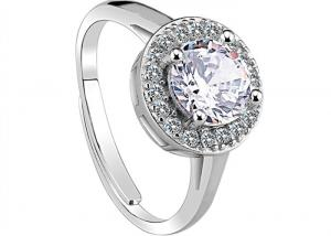 China Beauty Round Crystal Ring With Clear CZ Pave , Solid Sterling Silver Engagement Rings on sale