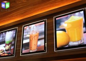 China Fast Food A2 Slim LED Illuminated Menu Boards Crystal Lightbox Wall Mounted on sale