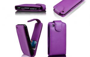 China Frosted Handmade Leather Cell Phone Case Purple PU iPhone 3G Flip Cover on sale