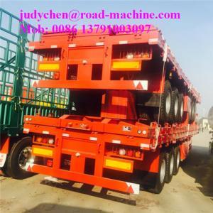 China Flat Bed Container Semi Trailer Trucks Loading 40 - 50 Ton Fuwa Axle Jost Support Leg on sale