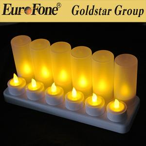 China 12 pack flickering led rechargeable candle with holder on sale