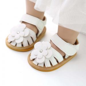 China New summer 0-2 years old infant leather flower design girl baby shoes on sale