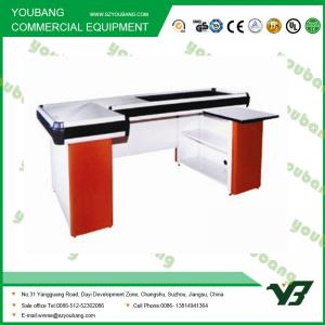 China Durable Electric Supermarket Checkout Counter Cashier Desk 2000 * 1200 * 850mm on sale
