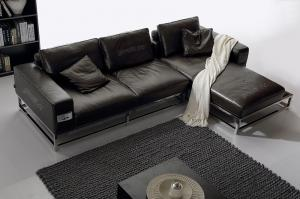 Quality Modern Elegant Luxury Leather Sofas , Black Italian Minotti leather sofa for sale