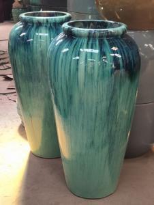China Pottery Jar Outdoor Ceramic Jars Ceramic Terracotta Pots Planters GW1244 Set 2 on sale