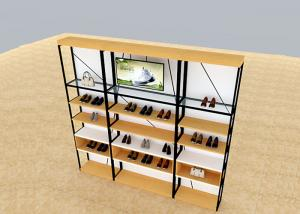 Quality Metal And Wooden Wall Shoe Display Racks , Shoe Display Fixtures Easy Install for sale