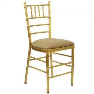 China Plastic Acrylic Gold Resin Tiffany Chiavari Dining Chair with Cushion For Wedding on sale