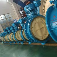 DN700 Blue Pneumatic Butterfly Valve / Double Butterfly Valve WCB Material PN 10