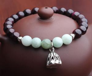 China 7mm burgundy garnet bracelets with jade, gemstone stretchy bracelets, lotus charm bracelet on sale