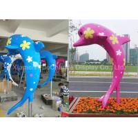 China Outdoor Fiberglass Animal Statues Customized Color Cute Dolphin Statues on sale