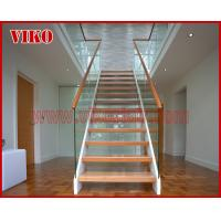 Solid Wood Staircase VK93S Beech Handrail Tread Beech ,Railing tempered glass, Handrail b eech Stringer,carbon