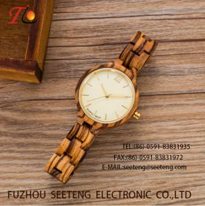 China wholesale   Pu watch  wooden watches alloy case  quartz watch fashion watch concise styleDelicate / elegant wooden strap on sale