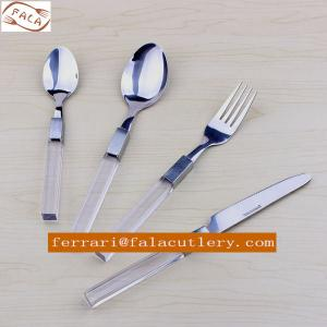 China Indian Crystal High End Imitation Glass Plastic Handle Cutlery on sale