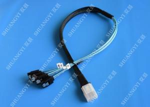China Flexible SAS To 4x SATA Forward Breakout Cable 3.3 Feet 30 AWG Style on sale