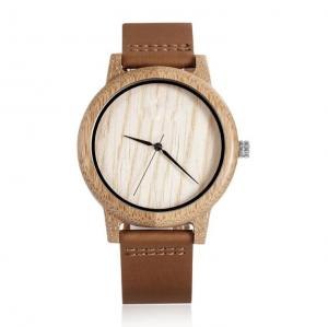 China Hand Craft Maple Wood Case Quartz Mens Watch With Genuine Leather on sale