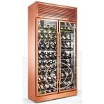 OP-A1003 Luxury Gold Color Two Doors Customized Wine Glass Display Cooler