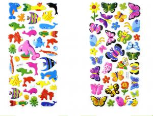 China Butterfly Animal Insect Cute Colorful Puffy Stickers Promotion Gift on sale