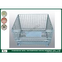 Industrial collapsible metal storage bins on wheels wire cage silver or blue color