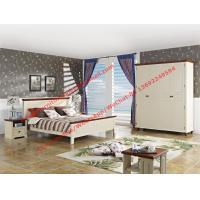 China Muebles mediterráneos del dormitorio del uso en el hogar del apartamento del estilo por la cama de madera en el cabecero blanco del panel de la playa y del caucho de Brown on sale